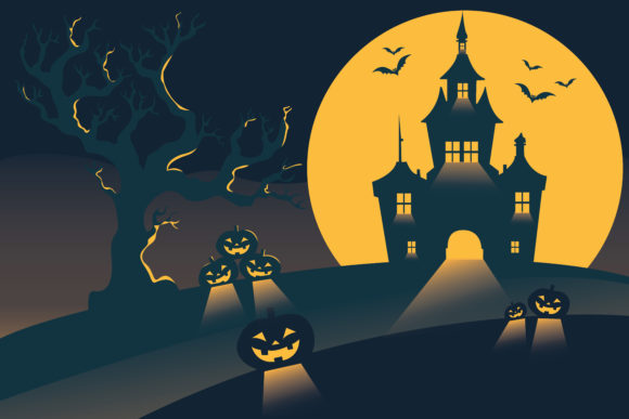 Print on Demand: Flat Illustration Halloween Background Graphic Illustrations By midnightdiscoclub