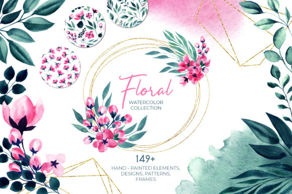 Floral Watercolor Collection. Pink Green Graphic Illustrations By ilonitta.r