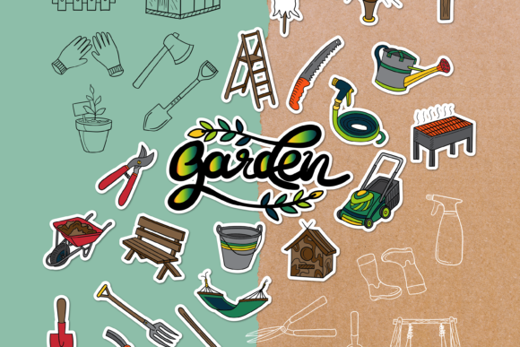 Garden Doodle Clipart Pack - 4 Styles Graphic Objects By WADLEN