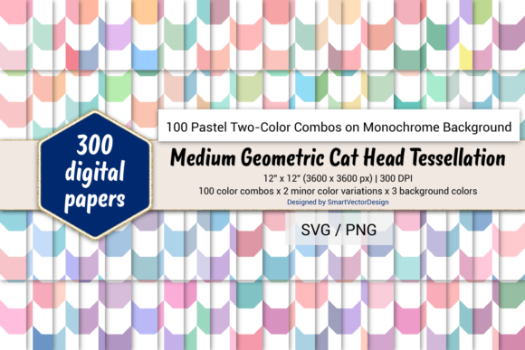 Print on Demand: Geom Cat Head-Two - Color Pastels on BG Graphic Backgrounds By SmartVectorDesign