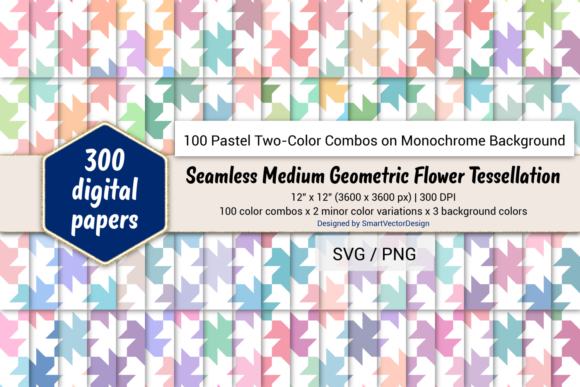 Print on Demand: Geom Flower - 100 Two-Color Pastels on BG Graphic Backgrounds By SmartVectorDesign