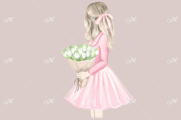 Girl in Pink. Hand Drawn Illustration Graphic Illustrations By MaddyZ