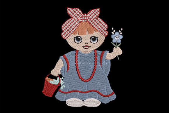 Print on Demand: Girl with Headscarf, Cute Babies & Kids Embroidery Design By Embroidery Shelter