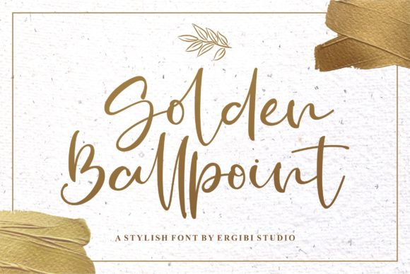 Print on Demand: Golden Ballpoint Script & Handwritten Font By ergibi studio