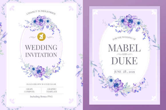 Grape Compote Wedding Invitation Graphic Graphic Print Templates By Chanut is industries