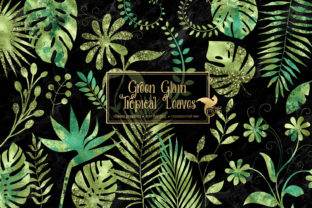 Print on Demand: Green Glam Tropical Leaves Clipart Graphic Illustrations By Digital Curio