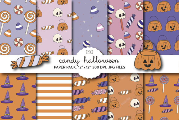 Halloween Candy Digital Paper, Candy Graphic Patterns By Nina Prints