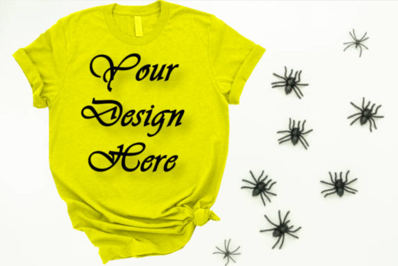 Halloween Green T-shirt Mockups,Spiders Graphic Product Mockups By Mockup Shop