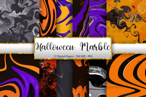 Halloween Marble Digital Papers Graphic Backgrounds By PinkPearly