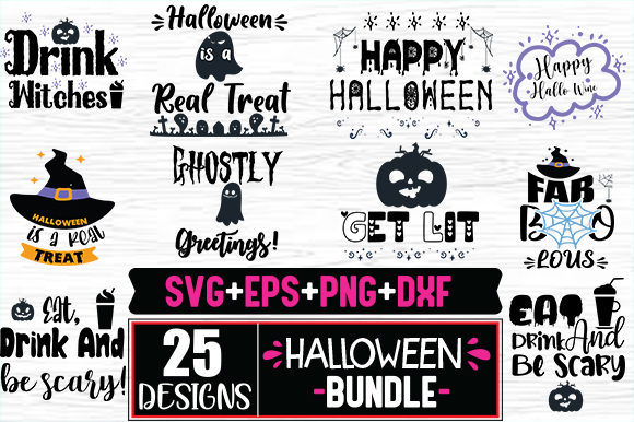 Print on Demand: Halloween Quotes & Vintage Design Bundle Graphic Print Templates By svg.in.design