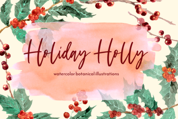 Print on Demand: Holiday Holly Watercolor Clipart Set Graphic Illustrations By roselocket