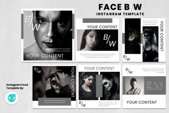 Instagram Feed Template - Face B/W Graphic Presentation Templates By 57creative