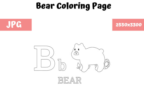 Print on Demand: KDP ABC Bear Coloring Page for Kids Graphic Coloring Pages & Books Kids By MyBeautifulFiles