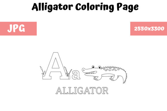 Print on Demand: KDP ABC Alligator Coloring Page for Kids Graphic Coloring Pages & Books Kids By MyBeautifulFiles