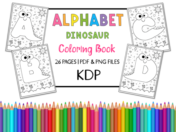 KDP Alphabet Dinosaur Coloring Book Graphic Coloring Pages & Books Kids By Miss Cherry Designs