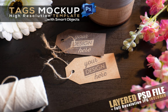 Print on Demand: Label Tags Mockup Template, Smart Object Graphic Product Mockups By iBearToo