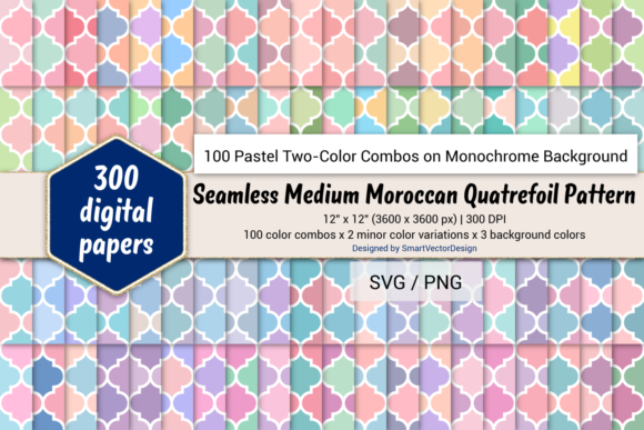 Print on Demand: Moroccan Quatrefoil - Two Pastels on BG Graphic Backgrounds By SmartVectorDesign
