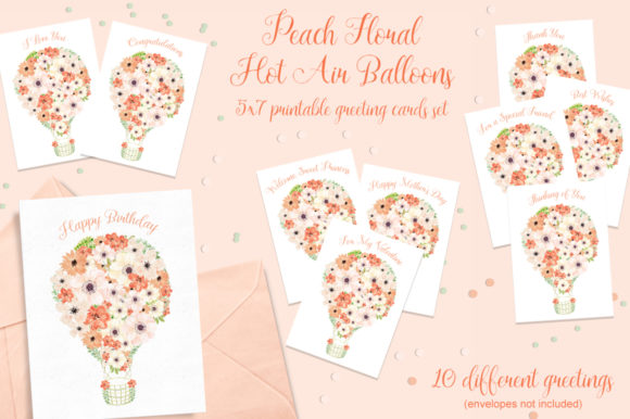 Peach Floral Hot Air Balloons Cards Set Graphic Crafts By MarcyCoateDesigns