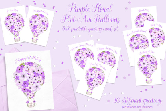 Purple Floral Hot Air Balloons Cards Set Graphic Crafts By MarcyCoateDesigns