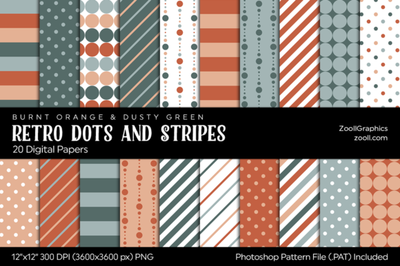 Retro Dots and Stripes Digital Papers Graphic Patterns By ZoollGraphics