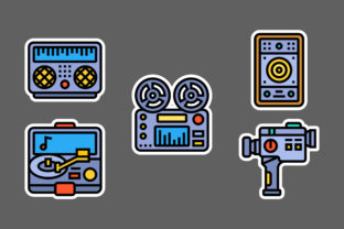 Retro Technology Stickers White Graphic Icons By ciloraphic