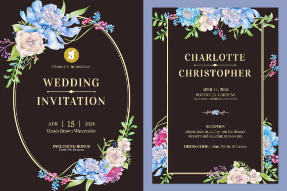 Scabiosa Wedding Invitation Graphic Graphic Print Templates By Chanut is industries