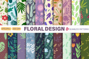 Print on Demand: Seamless Patterns with Flowers and Leaves Graphic Patterns By FindsArtDesign