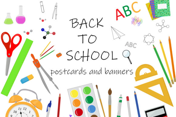 Set Back to School Postcards and Banners Graphic Illustrations By shishkovaiv