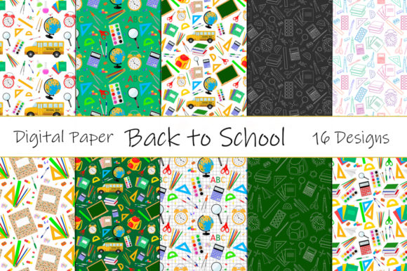 Set Seamless Patterns Back to School Vector Graphic Patterns By shishkovaiv