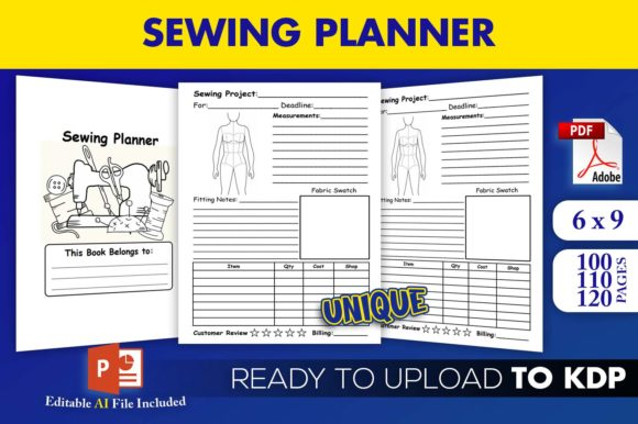 Print on Demand: Sewing Planner Journal | KDP Interior Graphic KDP Interiors By Beast Designer - Image 1