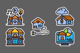 Smart House Stickers White Graphic Icons By ciloraphic