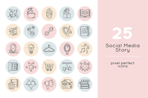 Print on Demand: Social Media Story Pixel Perfect Icons Graphic Icons By bsd studio