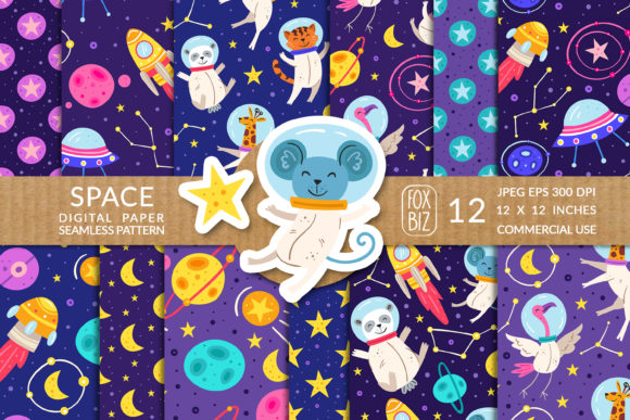 Print on Demand: Space Animal Astronaut Seamless Patterns Graphic Patterns By FoxBiz