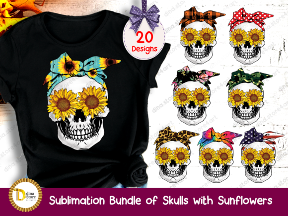 Print on Demand: Sublimation Bundle of Skulls& Sunflowers Graphic Crafts By dina.store4art