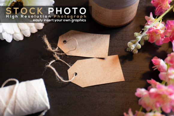 Print on Demand: Tags Label Stock Photo Dark Wood Table Graphic Photos By iBearToo