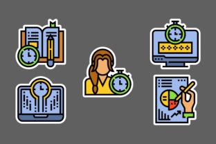 Time Management Stickers White Graphic Icons By ciloraphic