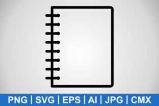 Print on Demand: Spiral Notebook with Black Outline Graphic Icons By IYIKON