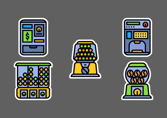 Vending Machine Stickers White Graphic Icons By ciloraphic