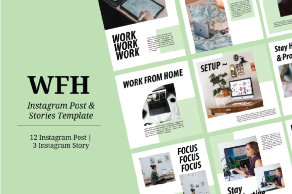 Print on Demand: WFH Instagram Template Graphic Graphic Templates By nirmala.graphics