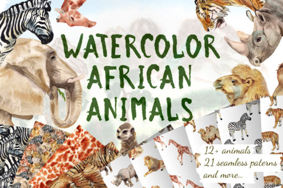 Watercolor African Animals Graphic Illustrations By brush_sister