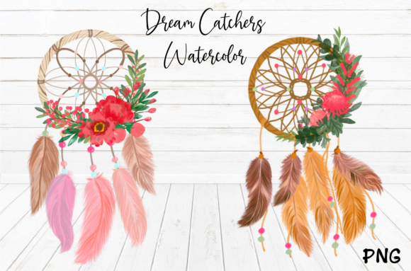 Print on Demand: Watercolor Dream Catchers Flowers ClipArt Graphic Illustrations By Suda Digital Art