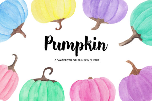Watercolor Pumpkin Illustrations Graphic Illustrations By BonaDesigns