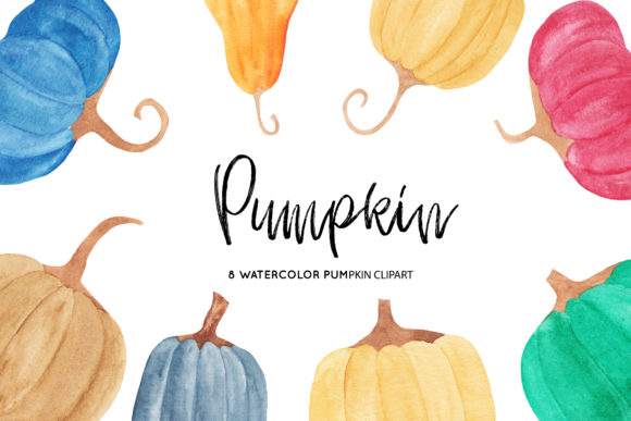 Watercolor Pumpkins Illustrations Graphic Illustrations By BonaDesigns