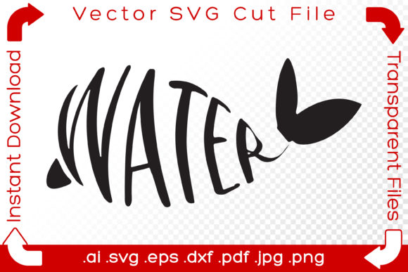 Print on Demand: Whale Water Clipart Wordart Vector Graphic Illustrations By iBearToo