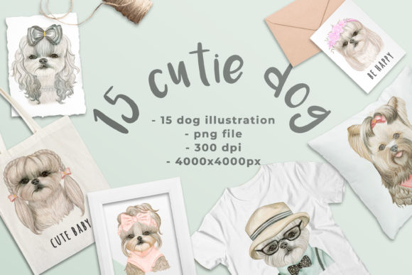 Print on Demand: Cute Dog Watercolor Illustration Graphic Illustrations By OrchidArt