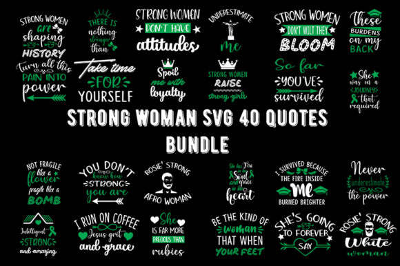 Print on Demand: Strong Woman 40 Quotes Bundle Graphic Print Templates By Design_store