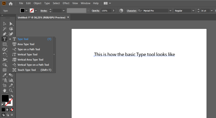How to use the Type tool on Illustrator