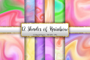 Print on Demand: 12 Shades of Rainbow Marble Background Graphic Backgrounds By PinkPearly