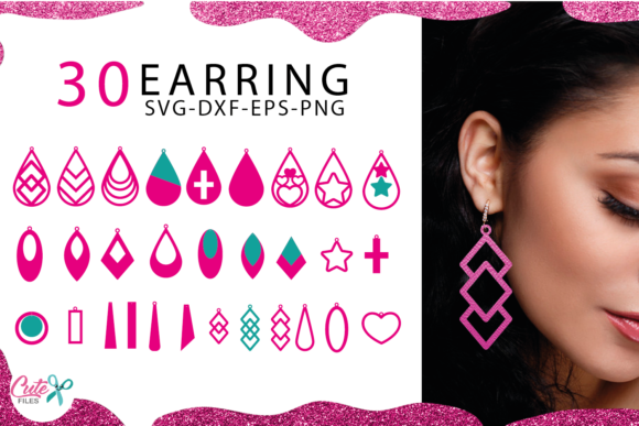30 Earrings Templante Bundle Graphic Illustrations By Cute files