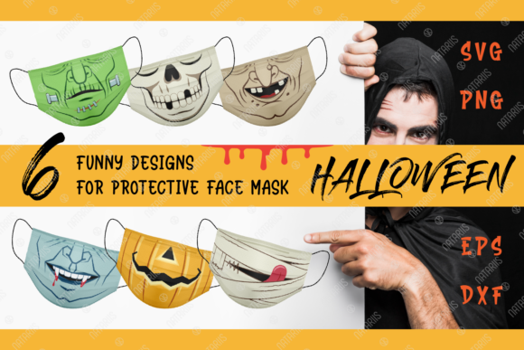 6 Funny Halloween Designs for Face Mask Graphic Crafts By Natariis Studio